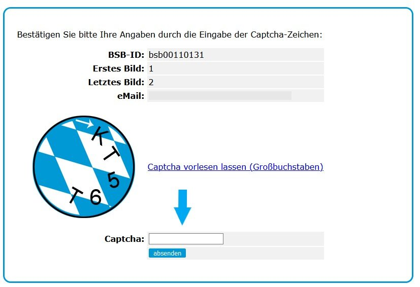 Screenshot: Captcha Eingabe