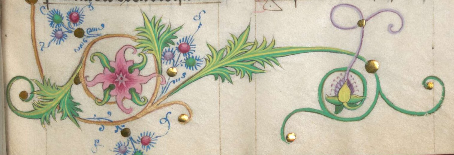 Floral border with bezants