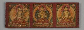 """Nepalesischer Buchdeckel (Oberdeckel) mit nicht zugehöriger """"Saptavāra""""-Handschrift (BSB Cod.sanscr. 423#Buchdeckel1)"""