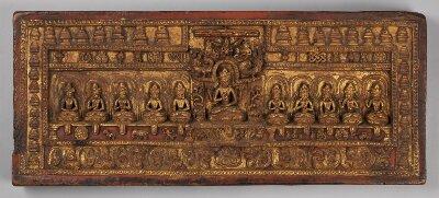 Tibetischer Buchdeckel (Oberdeckel) einer Prajñāpāramitā-Handschrift - BSB Cod.tibet. 1005