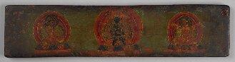 Tibetischer Buchdeckel (Oberdeckel) mit Darstellungen der tibetischen Kagyü-Schule (Cod.tibet. 1008(1