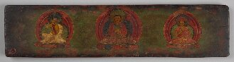Tibetischer Buchdeckel (Unterdeckel) mit Darstellungen  der tibetischen Kagyü-Schule (Cod.tibet. 1008(2