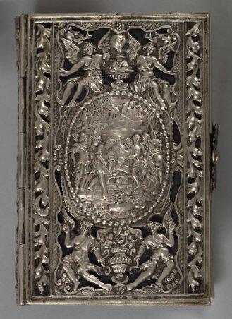 Silbereinband zu Gebet- und Unterweisungsbuch für den katholischen Gatten und Vater - BSB ESlg/Asc. 5514 w#Einband