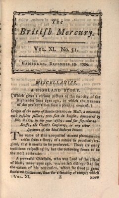 The British mercury or annals of history, politics, manners, literature, arts etc. of the British Empire Samstag 19. Dezember 1789