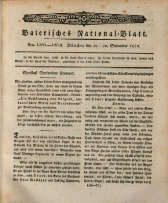 Baierisches National-Blatt Samstag 30. September 1820