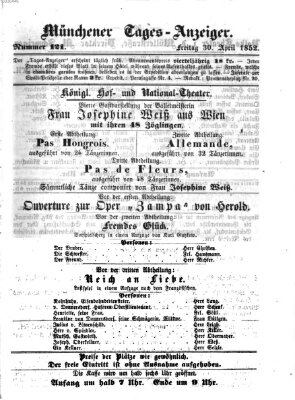 Münchener Tages-Anzeiger Freitag 30. April 1852