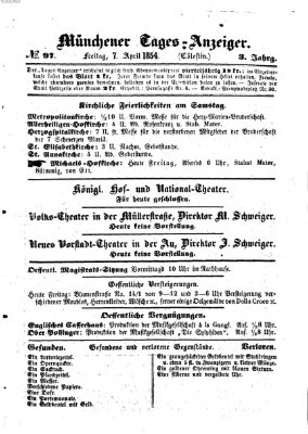 Münchener Tages-Anzeiger Freitag 7. April 1854