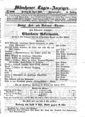 Münchener Tages-Anzeiger Freitag 13. April 1855