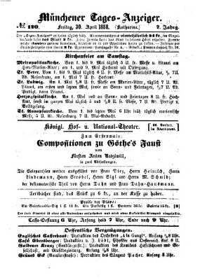 Münchener Tages-Anzeiger Freitag 30. April 1858