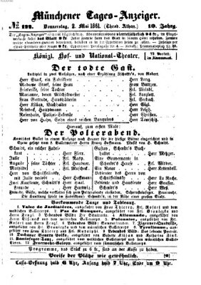 Münchener Tages-Anzeiger Donnerstag 2. Mai 1861