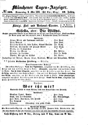 Münchener Tages-Anzeiger Donnerstag 9. Mai 1861