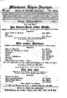 Münchener Tages-Anzeiger Montag 12. Mai 1862