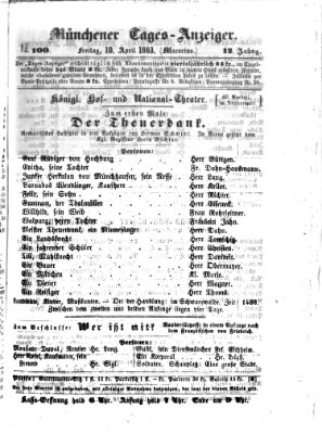 Münchener Tages-Anzeiger Freitag 10. April 1863