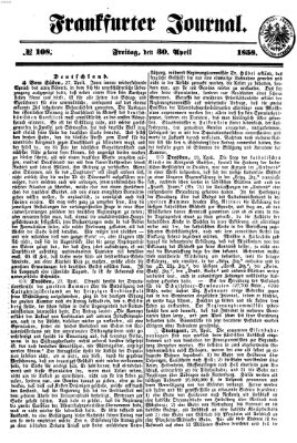 Frankfurter Journal Freitag 30. April 1858