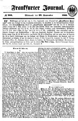 Frankfurter Journal Mittwoch 29. September 1858