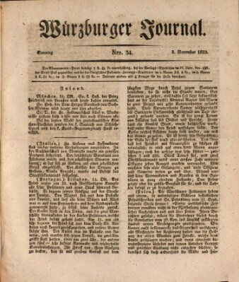 Würzburger Journal Sonntag 3. November 1833
