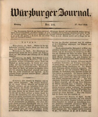 Würzburger Journal Sonntag 27. April 1834