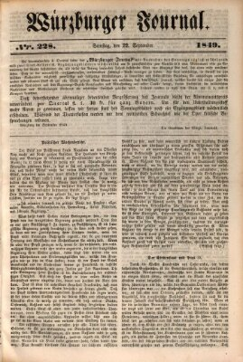 Würzburger Journal Sonntag 22. September 1839