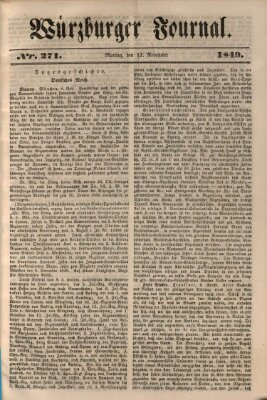 Würzburger Journal Dienstag 12. November 1839