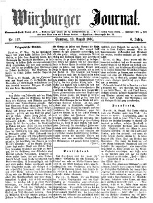 Würzburger Journal Samstag 18. August 1860