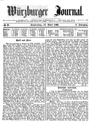 Würzburger Journal Donnerstag 17. April 1862