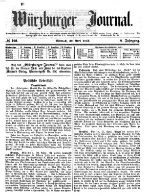 Würzburger Journal Mittwoch 30. April 1862