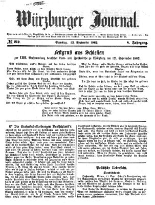 Würzburger Journal Samstag 13. September 1862