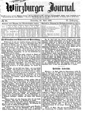 Würzburger Journal Donnerstag 20. April 1865