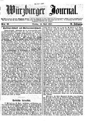 Würzburger Journal Dienstag 16. April 1867