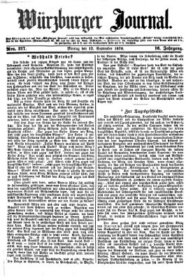 Würzburger Journal Montag 12. September 1870