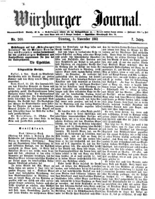 Würzburger Journal Dienstag 5. November 1861