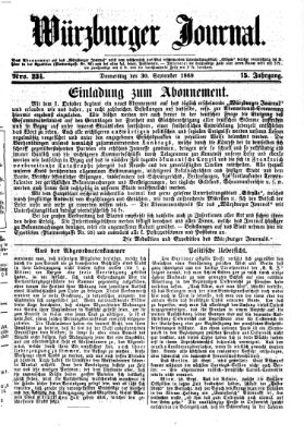 Würzburger Journal Donnerstag 30. September 1869