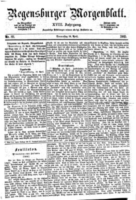 Regensburger Morgenblatt Donnerstag 20. April 1865