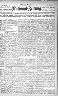 Nationalzeitung Dienstag 22. September 1868