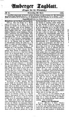 Amberger Tagblatt Donnerstag 20. April 1865