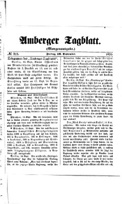 Amberger Tagblatt Freitag 16. September 1870