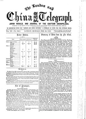 The London and China telegraph Montag 22. Februar 1869
