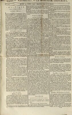 Gazette nationale, ou le moniteur universel (Le moniteur universel) Donnerstag 19. April 1792