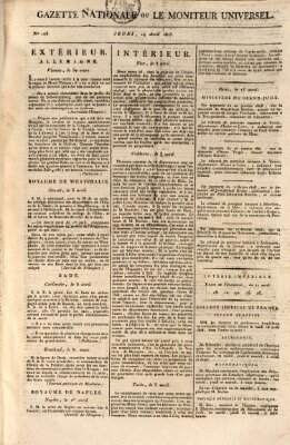 Gazette nationale, ou le moniteur universel (Le moniteur universel) Donnerstag 14. April 1808