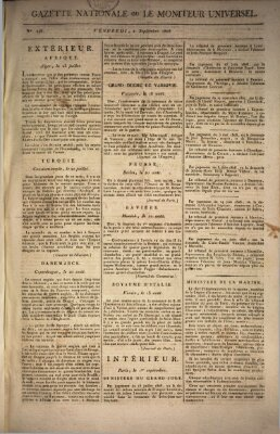 Gazette nationale, ou le moniteur universel (Le moniteur universel) Freitag 2. September 1808