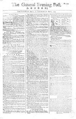 The general evening post Donnerstag 3. April 1755