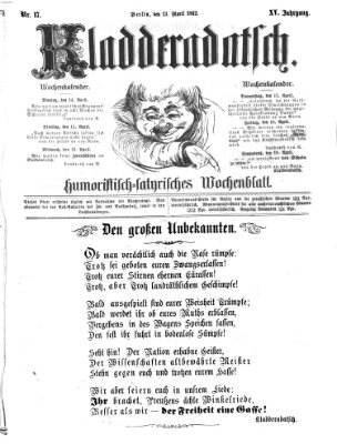 Kladderadatsch Sonntag 13. April 1862
