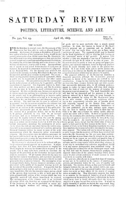 Saturday review Samstag 18. April 1863