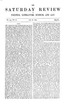 Saturday review Samstag 18. Juli 1863