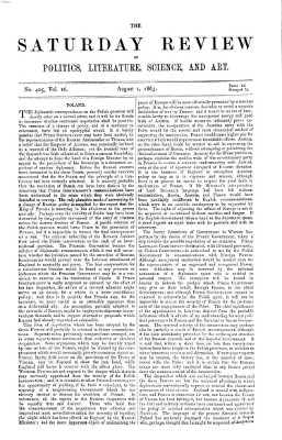 Saturday review Samstag 1. August 1863