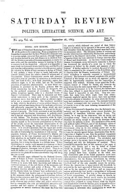 Saturday review Samstag 26. September 1863