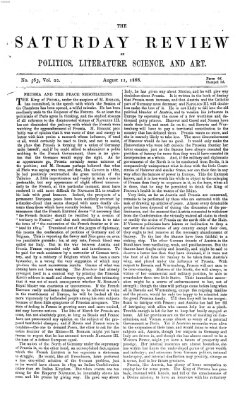 Saturday review Samstag 11. August 1866