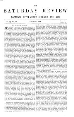 Saturday review Samstag 20. Oktober 1866