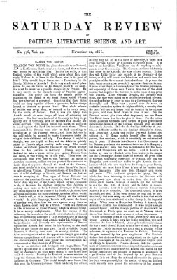 Saturday review Samstag 10. November 1866