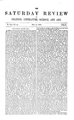 Saturday review Samstag 30. Mai 1868